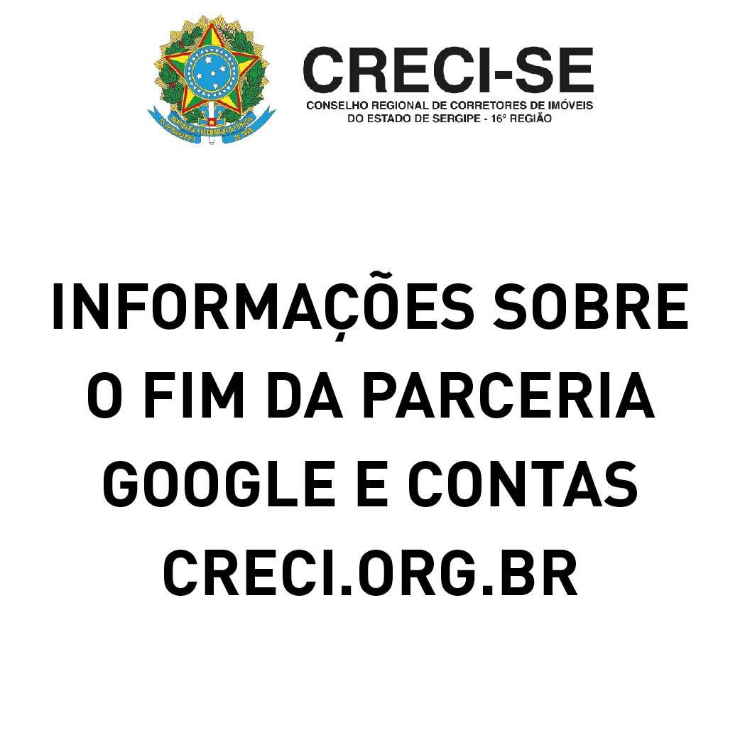 Fim da parceria com o Google – CRECI.ORG.BR